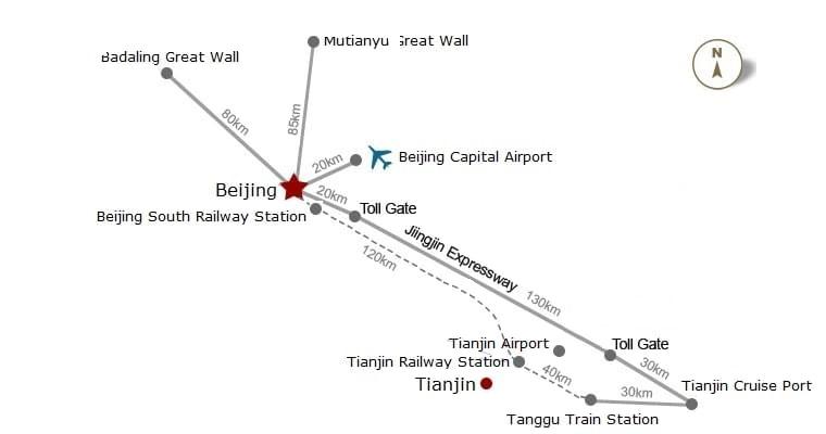 Tianjin cruise port to beijing map