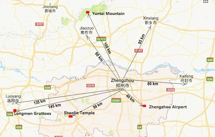 Zhengzhou Distance Map