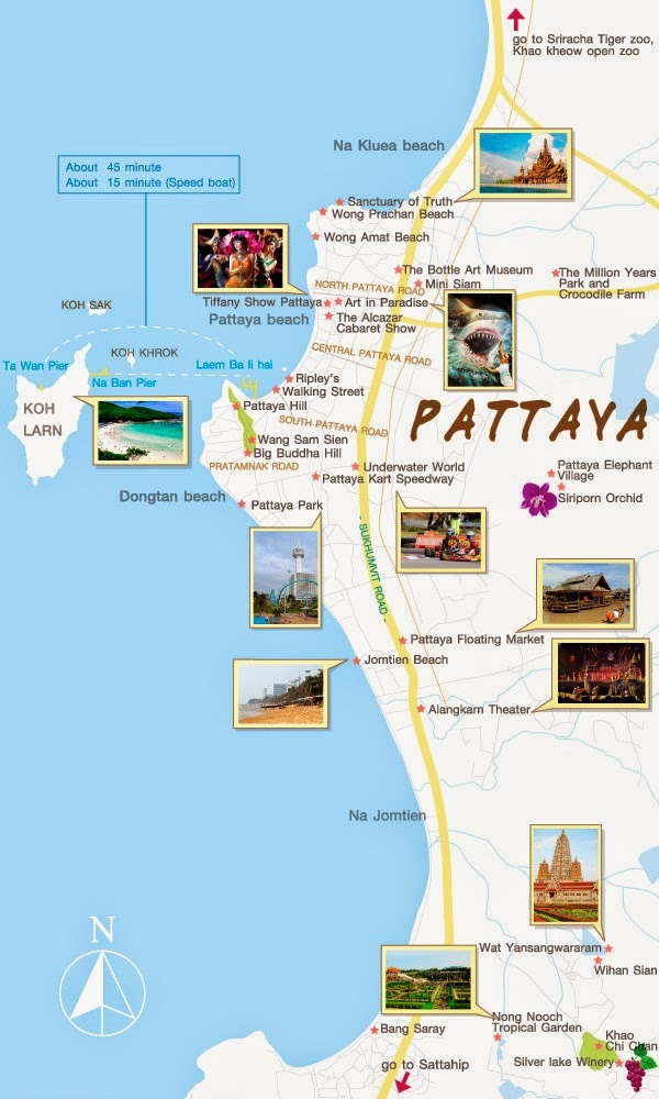 Pattaya Attractions Map