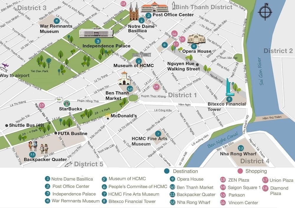 Ho Chi Minh city tourist map